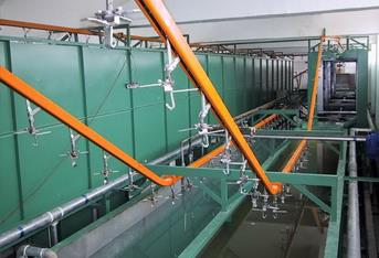 Hanging chain conveyor line assembly steps
